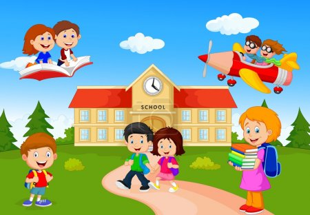 Photo for Vector illustration of Happy cartoon school children - Royalty Free Image