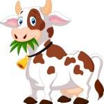 Vector illustration of Happy cartoon cow...