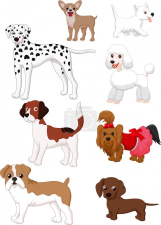 Illustration for Vector illustration of Cartoon dog collection - Royalty Free Image