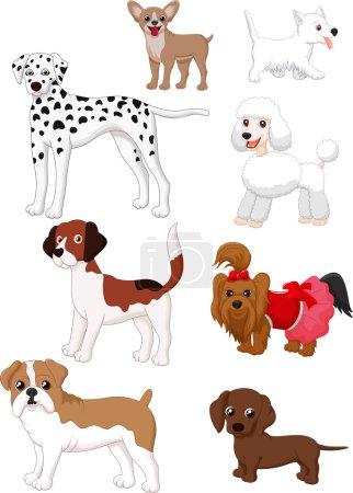 Illustration pour Illustration vectorielle de la collection de chiens de bande dessinée - image libre de droit