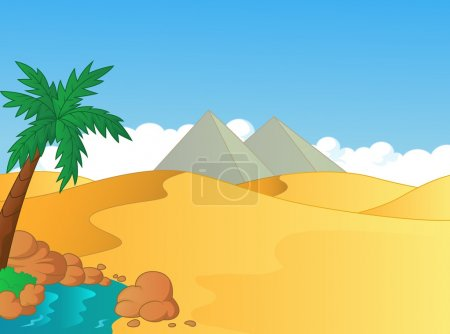 Cartoon illustration of small oasis in the desert