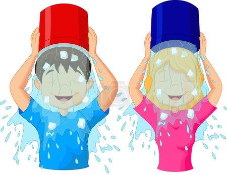 Illustration pour Illustration vectorielle du défi seau à glace - image libre de droit