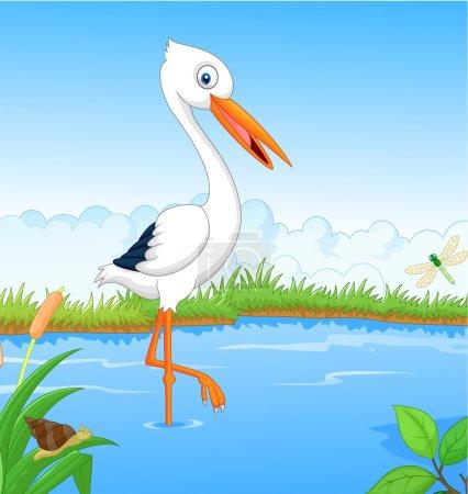 Vector illustration of White stork cartoon searchi...