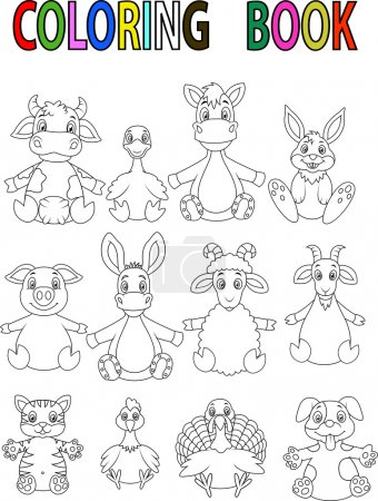 Illustration for Vector illustration of Cartoon Farm animal coloring book - Royalty Free Image