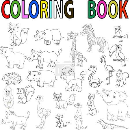 Wild animal cartoon coloring book