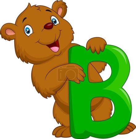 Alphabet B with bear cartoon
