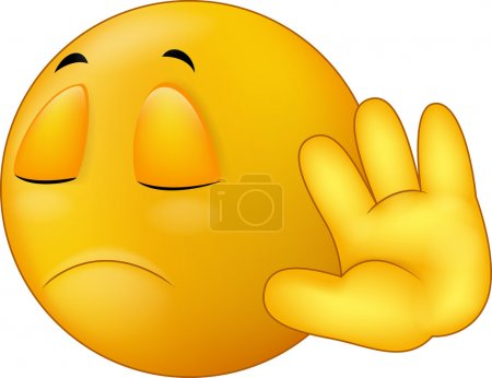 Talk to my hand gesture, smiley emoticon cartoon