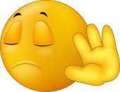 Talk to my hand gesture smiley emoticon cartoon