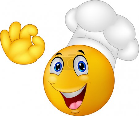 Illustration for Vector illustration of Chef smiley emoticon cartoon - Royalty Free Image