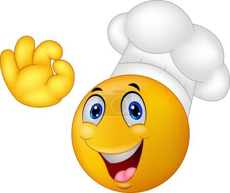 Illustration pour Illustration vectorielle du dessin animé Chef smiley emoticon - image libre de droit