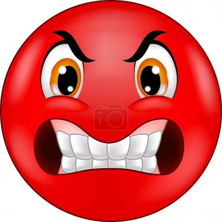 Illustration for Vector illustration of Angry smiley emoticon cartoon - Royalty Free Image