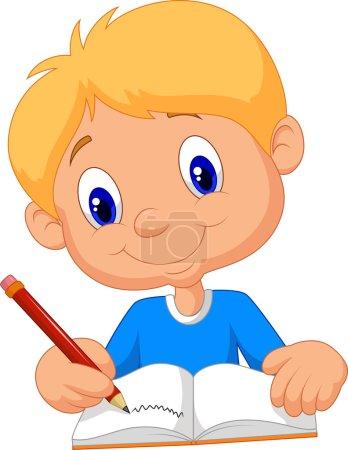 Happy boy cartoon writing in a book