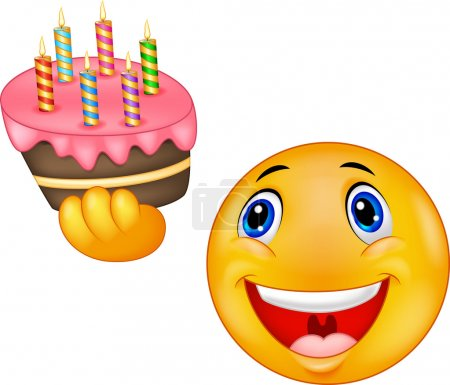 Smiley emoticon cartoon holding birthday cake