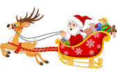 Vector illustration of Cartoon Santa in his Christmas sled being pulled by reindeer