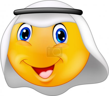 Illustration for Vector illustration of Cartoon Emoticon smiley with Arabic dress - Royalty Free Image