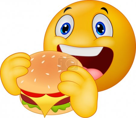 Illustration for Vector illustration of Cartoon Emoticon smiley eating hamburger - Royalty Free Image