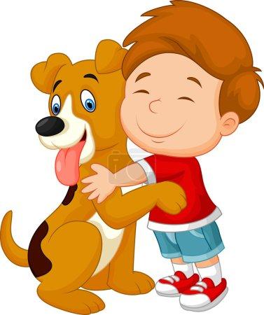 Happy young boy cartoon lovingly hugging his pet dog
