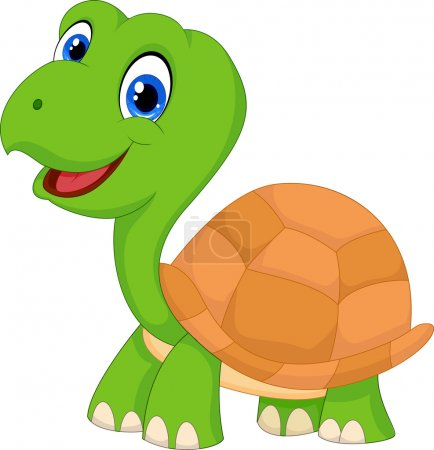 Illustration for Vector illustration of Cute cartoon green turtle - Royalty Free Image