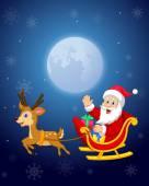 Vector illustration of Cartoon Santa in his Christmas sled