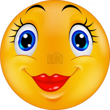 Cute cartoon female emoticon smiley