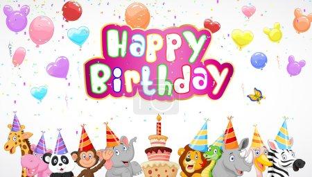 Birthday background with happy animals cartoon