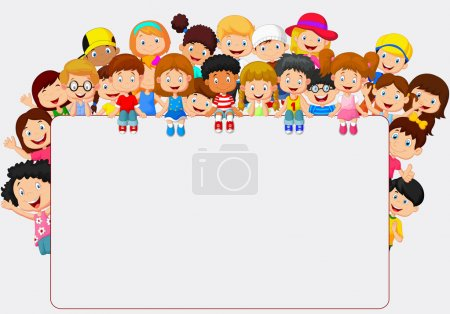 Vector illustration of Crowd children cartoon with...