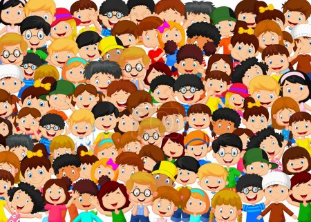 Vector illustration of Crowd children cartoon...
