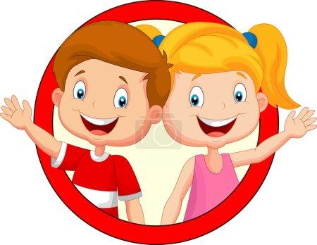 Illustration for Vector illustration of Cute children cartoon waving hand - Royalty Free Image
