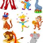 Vector illustration of Cute cartoon set Circus the...