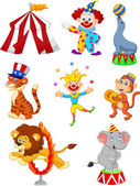 Vector illustration of Cute cartoon set Circus themed