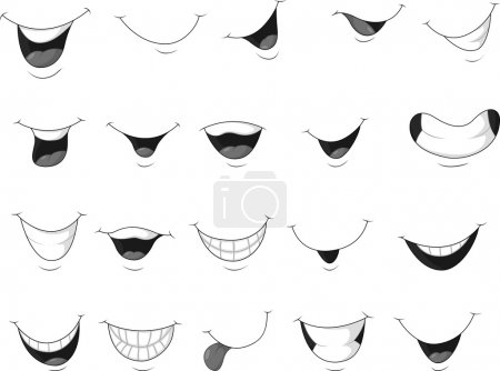 Vector illustration of Smiling mouth cartoon...