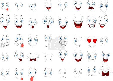 Illustration for Vector illustration of Various face cartoon expressions - Royalty Free Image