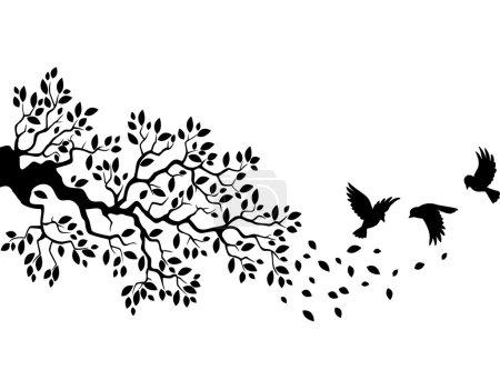 Illustration pour Silhouette d'arbre avec des oiseaux volant isolés sur blanc - image libre de droit