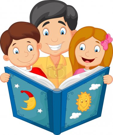 Illustration for Vector illustration of Cartoon father reading with his children - Royalty Free Image