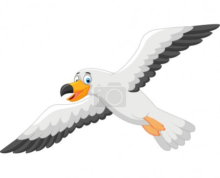 Illustration for Cartoon smiling seagull isolated on white - Royalty Free Image