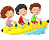 Happy kids cartoon riding a banana boat