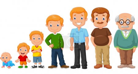 Illustration for Vector illustration of Cartoon development stages of man - Royalty Free Image