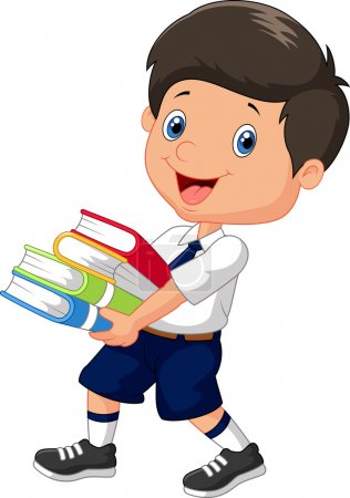 Cartoon boy holding a pile of books