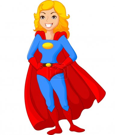 Illustration for Vector illustration of Cartoon female super hero posing - Royalty Free Image