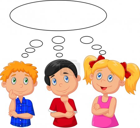 Illustration for Vector illustration of Cartoon kids thinking with white bubble - Royalty Free Image