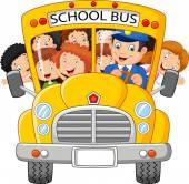 Vector illustration of School Kids cartoon Riding a School Bus