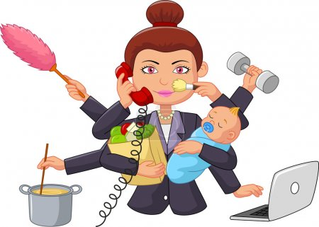 Illustration for Vector illustration of Cartoon multitasking housewife - Royalty Free Image