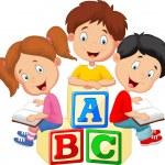 Vector illustration of Children cartoon reading bo...