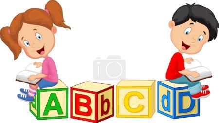 Illustration for Vector illustration of Children cartoon reading book and sitting on alphabet blocks - Royalty Free Image