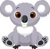 Cute cartoon koala sitting