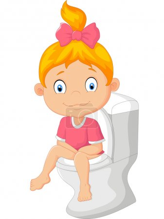 Photo for Vector illustration of Little girl cartoon sitting on the toilet - Royalty Free Image