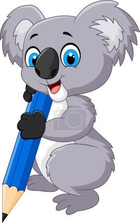 Cartoon koala holding pencil