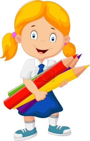 Cartoon school girl holding pencils