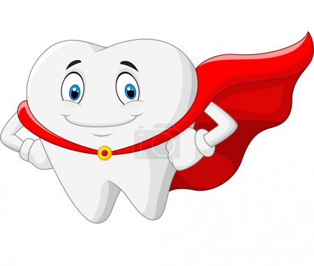 Illustration for Vector illustration of Happy cartoon superhero healthy tooth - Royalty Free Image