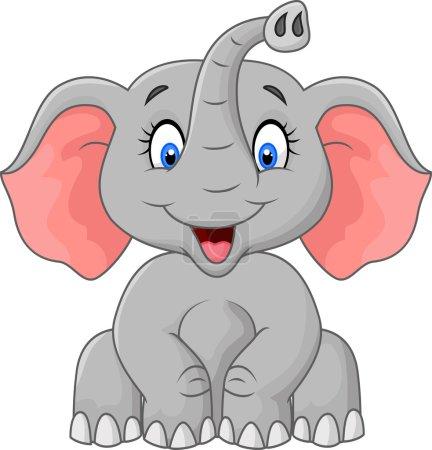 Illustration pour Illustration vectorielle de Mignon éléphant dessin animé assis - image libre de droit